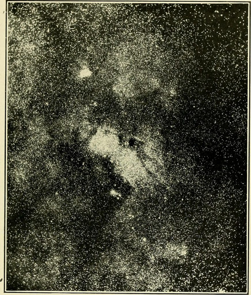 "Image from page 150 of ""The call of the stars; a popular introduction to a knowledge of the starry skies with their romance and legend"" (1919) Title: The call of the stars; a popular introduction to a knowledge of the starry skies with their romance and legend Year: 1919 (1910s) Authors: Kippax, John R. (John Robert), 1849-1922 Subjects: Stars Constellations Planets Publisher: New York, London, G. P. Putnam's sons Contributing Library: Wellesley College Library Digitizing Sponsor: Boston Library Consortium Member Libraries View Book Page: Book Viewer About This Book: Catalog Entry View All Images: All Images From Book Click here to view book online to see this illustration in context in a browseable online version of this book. Text Appearing Before Image: Sagittarius is the House and Joy of Jupiter. Those born between November 22d and De-cember 21st are said to be ruled by this sign. It isconsidered a lucky sign, and masculine. Dunkin saysthat Arcandum, an old astrologist, who published abook in 1542, declared that a person bom under thesign Sagittarius, is to be thrice wedded, to be veryfond of vegetables, to become a matchless tailor, andto have three special illnesses; but as the last attackof sickness is to befall the patient at eighty years of age, it is not of paramount moment. The archer was the tribal symbol of Ephraim andManasseh. Not far from M, a pale yellow multiplestar of the fourth magnitude, in the north tip of thearchers bow, is the grand cluster 24 M, visible to the naked eye. A little south-west of Mu is the famouscluster 8 M, also a naked-eye object. It can be foundby drawing a line from the star Phi to Lambda, andextending it an equal distance. It is said to be a cluster superposed upon a fine nebula. Two of the most Text Appearing After Image: Yerkes Observatory Plate IX. Star-Cloud and Black Holes in Sagittarius The Night-Sky of Summer 115 marvellous so-called coal-sacks—dark spots whereno stars appear—photographed by Barnard (PlateIX.), are in this cluster. To the north of this is therich and celebrated nebula marked 20 M, discovered in 1764, and sometimes called the Trifid Nebula, a large gaseous nebula of strange shape, traversed by-dark rifts, as though it had been torn asunder bysome wandering star drifting through it. The famousOmega Nebula marked 17 M, thus named from itsalleged resemblance to the Greek letter Omega, is afine, large, and bright object, easily seen with a smalltelescope. Centaurus (The Centaur) Lying between Hydra and the far-famed SouthernCross is the large and brilliant constellation Centaurus,the Centaur. It is in the southern sky so low downthat the main part of it can be seen only in southernlatitudes. Some of its northernmost stars are, how-ever, visible in middle latitudes from June to July."