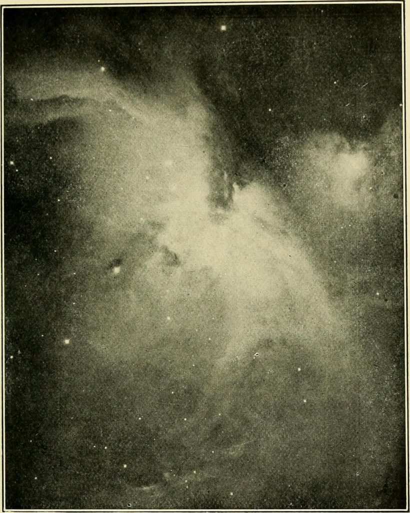 "Image from page 244 of ""The call of the stars; a popular introduction to a knowledge of the starry skies with their romance and legend"" (1919) Title: The call of the stars; a popular introduction to a knowledge of the starry skies with their romance and legend Year: 1919 (1910s) Authors: Kippax, John R. (John Robert), 1849-1922 Subjects: Stars Constellations Planets Publisher: New York, London, G. P. Putnam's sons Contributing Library: Wellesley College Library Digitizing Sponsor: Boston Library Consortium Member Libraries View Book Page: Book Viewer About This Book: Catalog Entry View All Images: All Images From Book Click here to view book online to see this illustration in context in a browseable online version of this book. Text Appearing Before Image: es across the Milky Way almost to the feet of theTwins and the southern horn of the Bull, is marked byseveral fifth- and sixth-magnitude stars. Whilst, nm-ning upwards between Bellatrix and Aldebaran is a curvedline of little stars, concave towards the giants head, re-presenting the lions hide that Orion carries on his leftarm as a shield, and which, as it rises in the east, affordsthe first glimpse of the approaching constellation. On a clear night, when there is little or no moonlight,Theta, the middle star in the sword of Orion, is seento be somewhat hazy to the unaided eye. This hazinessis due to the presence of a great misty cloud of lightknown as the Great Nebula of Orion (Neb. 1179), thelargest nebula known outside of the Milky Way, and the most marvellous object of its kind in the northern heavens. It has been sometimes called the Fish-mouth nebula, because when viewed through a tele-scope, it is in shape something like a fish-mouth (Plate XVIII.). Text Appearing After Image: Mount Wilson Solar Observatory Plate XVIII. The Great Nebula in Orion (In viewing the plate the side to the readers right should be held down-ward. Recent spectrographic measures of the radial velocities of the gases in different parts of this vast nebula have—as pointed out by Aitken, in The Adolfo Stahl Lectures in Astronomy—shown that they were moving with different velocities, in some parts recedingrelatively, in other parts approach-ing, and have led astronomers to believe that the entire intensely hot andincandescent mass is by no means in a quiescent state.) 1 The Night-Sky of Winter 191 resembles a ghostly bat flitting through the night of space. It is one of the two or three nebulae that are bright enough to be visible to the naked eye. It can beplainly seen with an opera-glass, and a prism binocular shows it well. In a two-inch telescope it is seento greater advantage, and in still larger instruments isa most wonderful object. It was discovered by Cysatof Lucerne, in 1618, b"